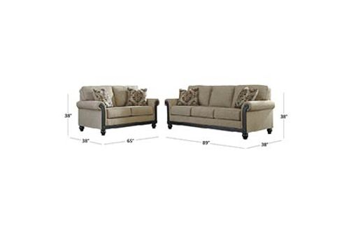 Signature Design by Ashley Blackwood-Taupe Sofa and Loveseat Dimensions