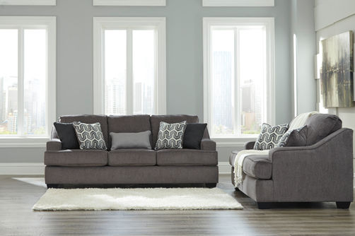 Signature Design by Ashley Gilmer-Gunmetal Sofa and Loveseat- Room View