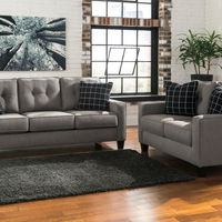 Benchcraft Brindon-Charcoal Sofa and Loveseat- Room View