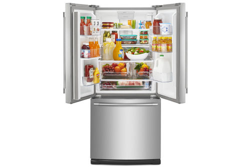 Maytag Stainless 20 Cu. Ft. French Door Bottom Mount Refrigerator- Open View