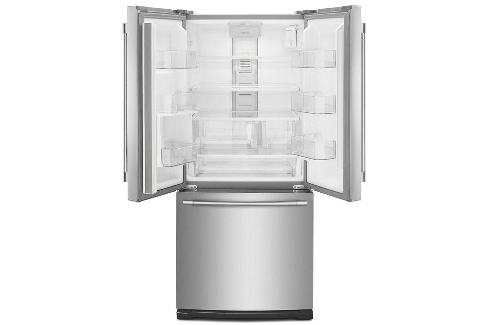 梅塔格不锈钢20铜。Ft.法式门底部安装式冰箱-打开视图为空