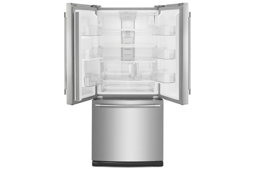 Maytag Stainless 20 Cu. Ft. French Door Bottom Mount Refrigerator- Open View Empty