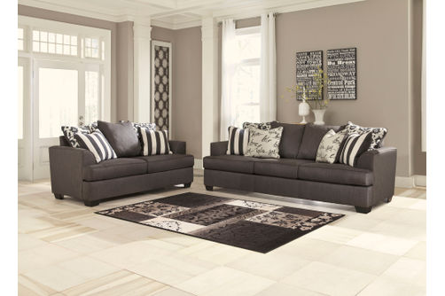 Signature Design by Ashley Levon-Charcoal Sofa and Loveseat- Room View