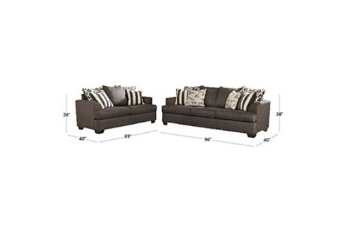 Signature Design by Ashley Levon-Charcoal Sofa and Loveseat Dimensions