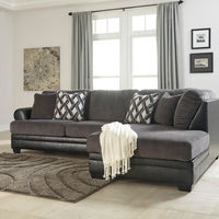Benchcraft Kumasi-Smoke Sofa Sectional with Chaise Room View