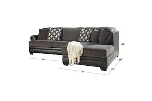 Benchcraft Kumasi-Smoke Sofa Sectional with Chaise Dimensions