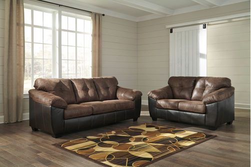 Signature Design by Ashley Gregale-Coffee Sofa and Loveseat- Room View