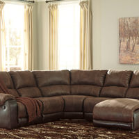 Signature Design by Ashley Nantahala-Coffee 5-Piece Sectional with Chaise- Room View