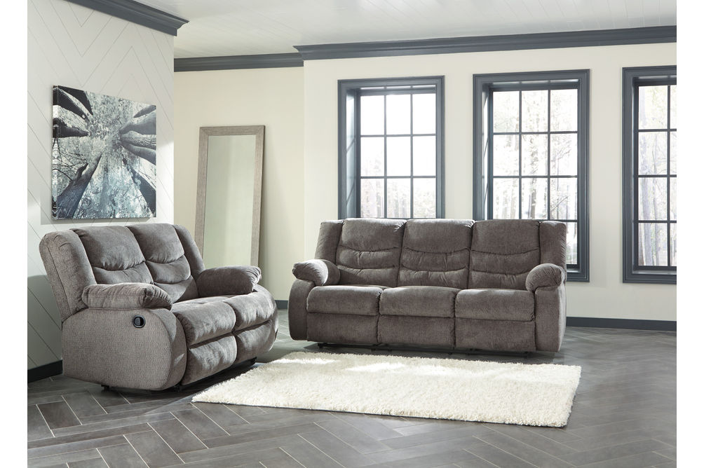 Signature Design by Ashley Tulen-Gray Reclining Sofa and Loveseat- Room View