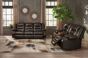 Signature Design by Ashley Vacherie-Chocolate Reclining Sofa and Loveseat- Room View