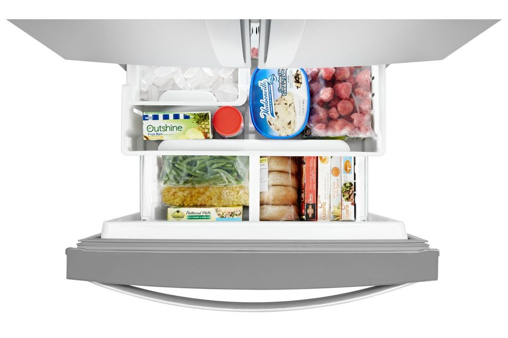Whirlpool 20 Cu. Ft. French Door Bottom Mount Refrigerator- Inside Freezer View