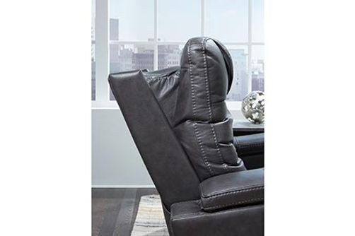 Signature Design by Ashley Composer-Gray Power Recliner- Adjustable Headrest