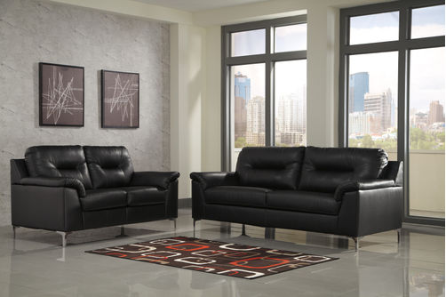 Signature Design by Ashley Tensas-Black Sofa and Loveseat- Room View