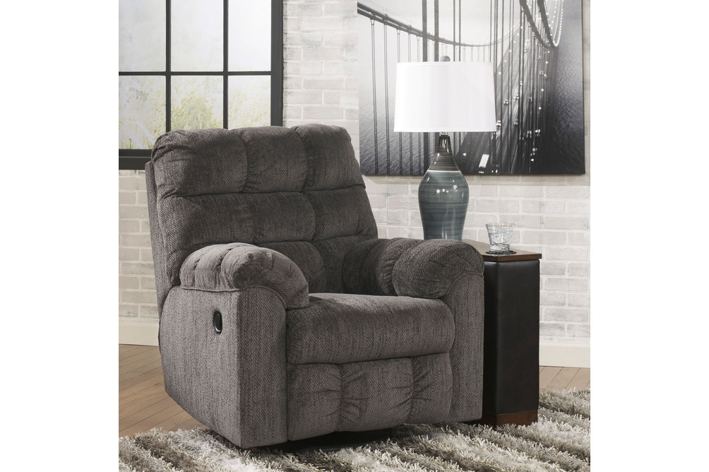 Signature Design by Ashley Acieona-Slate Swivel Rocker Recliner- Room View