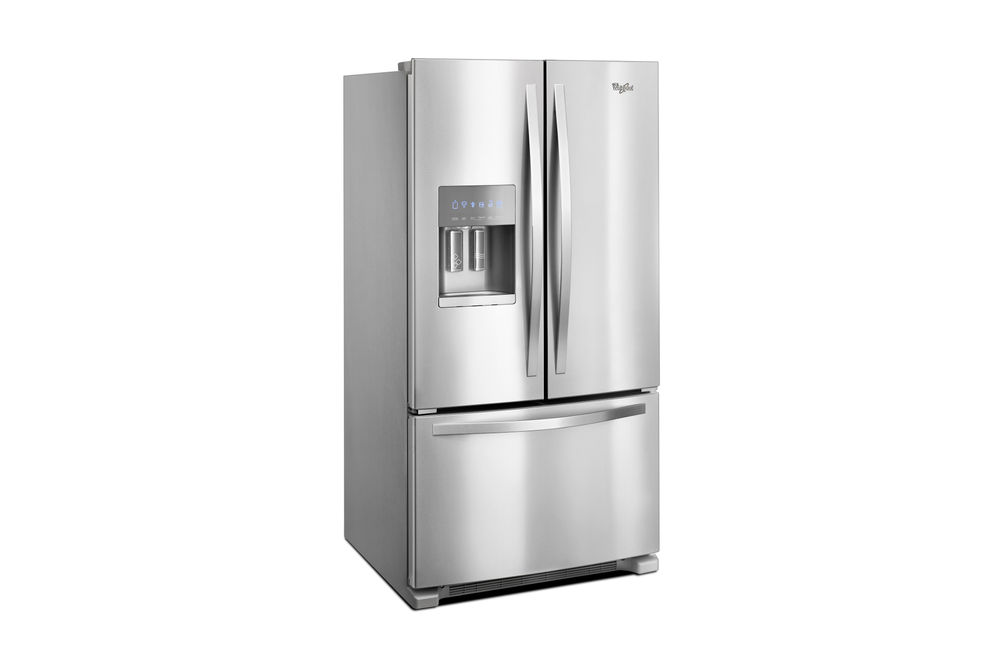 Whirlpool Stainless 25 Cu. Ft. French Door Bottom Mount Refrigerator with Water and Ice Dispenser- Side Angle View