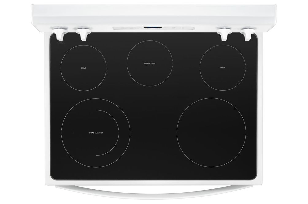Whirlpool White 5.3 Cu. Ft. Smooth-Top Electric Range- Cooktop View