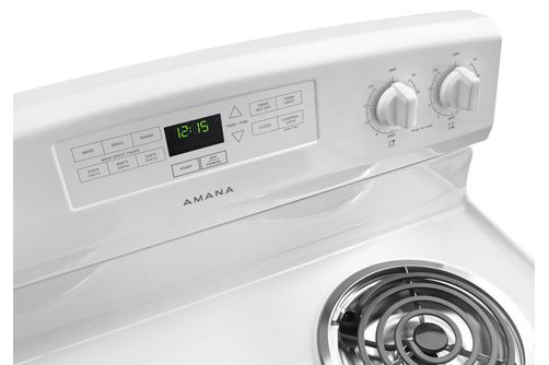 Amana White 4.8 Cu. Ft. Coil Top Electric Range- Top View