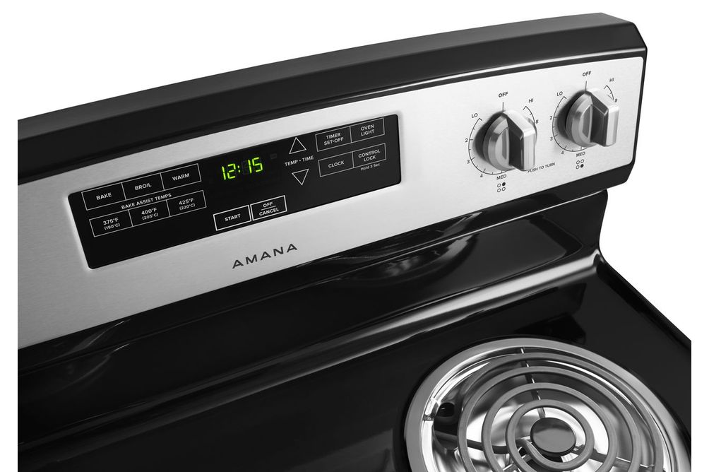Amana Stainless 4.8 Cu. Ft. Coil Top Electric Range- Top View