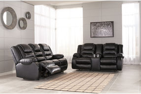 Signature Design by Ashley Vacherie-Black Reclining Sofa and Loveseat- Room View