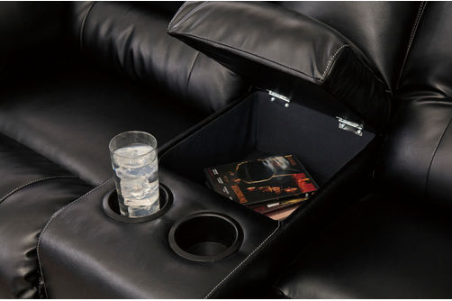 Signature Design by Ashley Vacherie-Black Reclining Sofa and Loveseat
