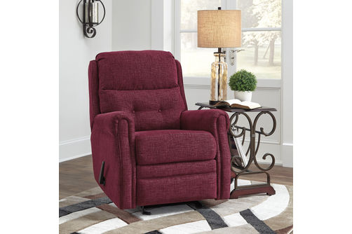 Signature Design by Ashley Penzburg-Burgundy Glider Recliner- Room View