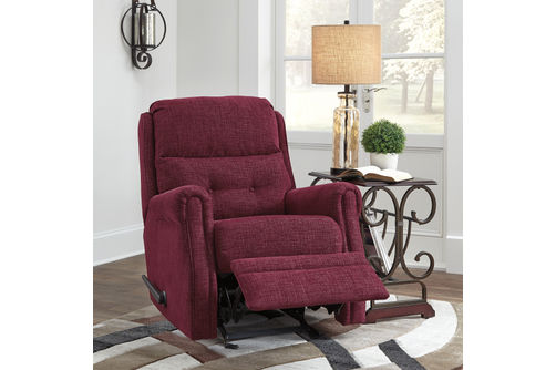 Signature Design by Ashley Penzburg-Burgundy Glider Recliner- Reclining View