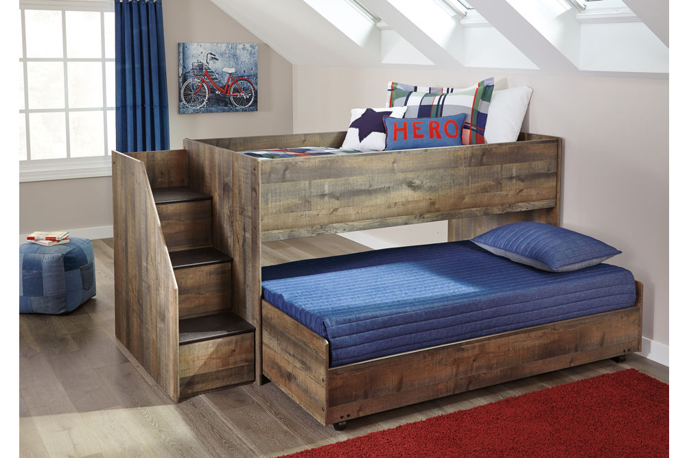 Signature Design by Ashley Trinell Twin Trundle Bed- Room View