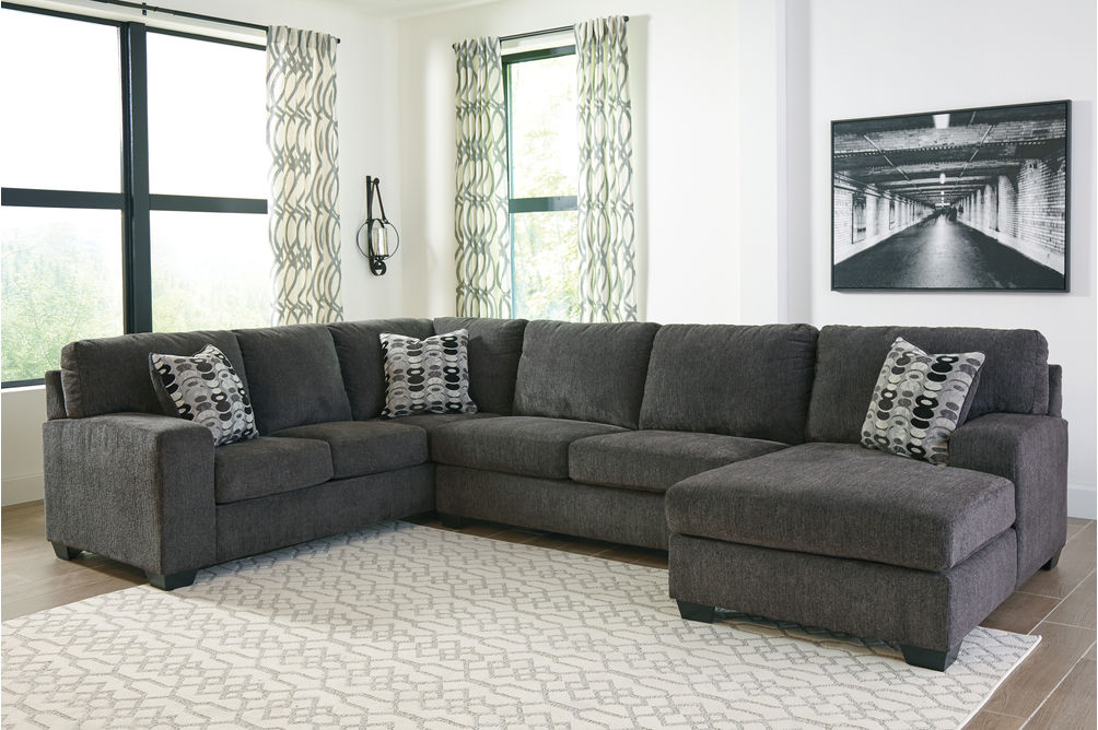 Signature Design by Ashley Ballinasloe-Smoke 3-Piece Sectional- Room View