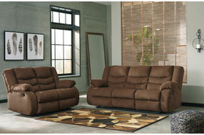 Signature Design by Ashley Tulen-Chocolate Reclining Sofa and Loveseat- Room View