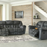 Signature Design by Ashley Capehorn-Granite Reclining Sofa and Loveseat- Room View