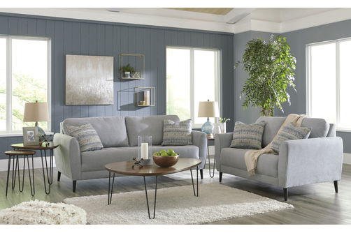 Signature Design by Ashley Cardello-Pewter Sofa and Loveseat- Room View