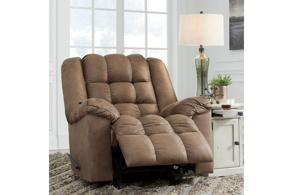 Signature Design by Ashley Adrano-Bark Rocker Recliner- Reclining View