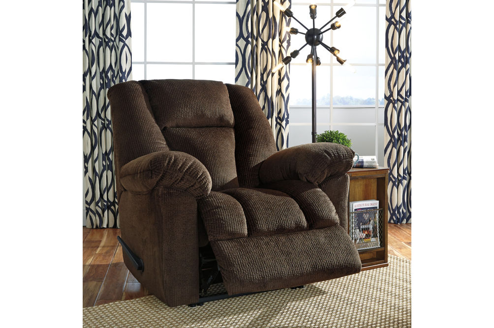 Signature Design by Ashley Nimmons-Chocolate Oversized Power Recliner- Room View  Reclining
