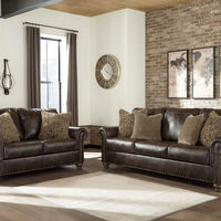 Signature Design by Ashley Nicorvo-Coffee Sofa and Loveseat- Room View