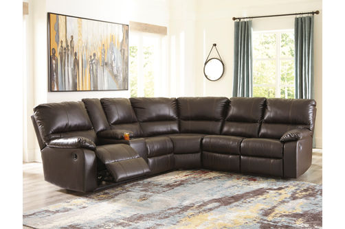 Signature Design by Ashley Warstein-Chocolate 3-Piece Reclining Sectional- Room View