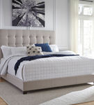 Signature Design by Ashley Dolante Queen Tufted Upholstered Bed - Beige - Sample Room View