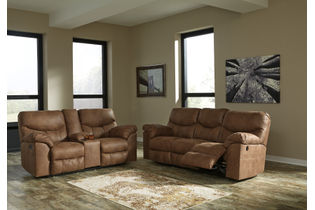 Signature Design by Ashley Boxberg-Bark Reclining Sofa and Loveseat- Room View