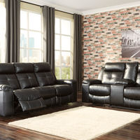 Signature Design by Ashley Kempten-Black Reclining Sofa and Loveseat- Room View