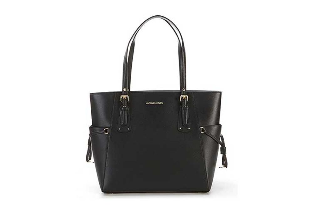 Michael Kors Voyager East West Large Tote - Black with Silver Hardware