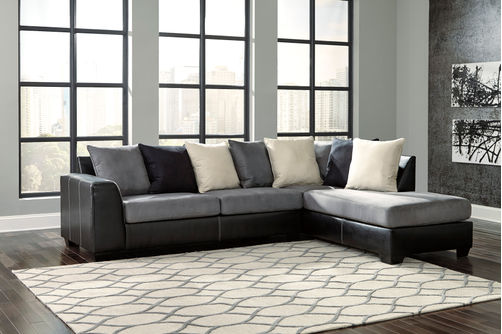 Ashley Jacurso-Charcoal RAF Chaise Sectional- Room View