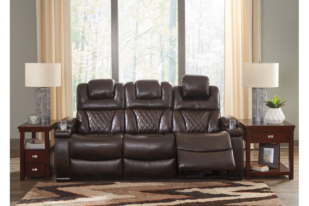 Signature Design by Ashley Warnerton-Chocolate Power Reclining Sofa- Room View