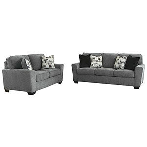 Signature Design by Ashley Waylark-Pewter Sofa and Loveseat