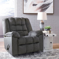 Signature Design by Ashley Drakestone-Charcoal Heat and Massage Rocker Recliner- Room View