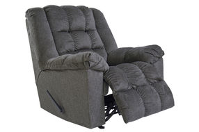 Signature Design by Ashley Drakestone-Charcoal Heat and Massage Rocker Recliner- Reclining View