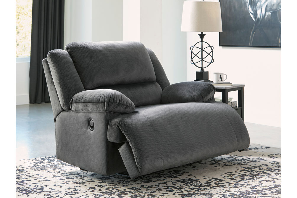 Signature Design by Ashley Clonmel-Charcoal Zero Wall Recliner- Reclining View