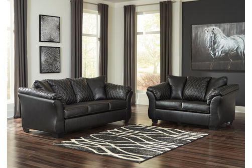 Signature Design by Ashley Betrillo-Black Sofa and Loveseat- Room View
