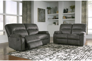 Signature Design by Ashley Bolzano-Slate Reclining Sofa and Loveseat- Room View