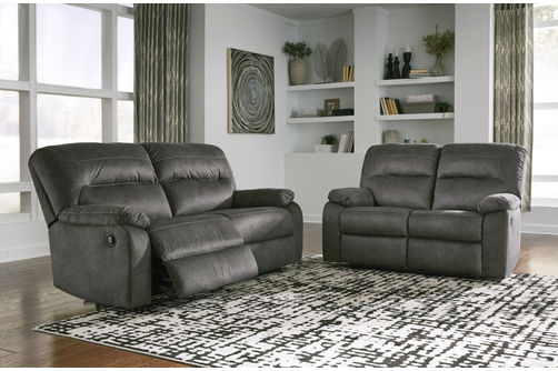 Signature Design by Ashley Bolzano-Slate Reclining Sofa and Loveseat- Room View