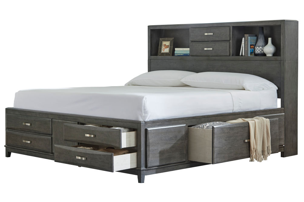 Signature Design by Ashley Caitbrook Platform King Bed- Open Drawers