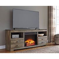 Signature Design by Ashley Trinell 63 Inch Electric Fireplace TV Stand- Room View